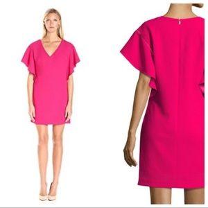 Trina Turk Flutter-Sleeve Crepe V-Neck Shift Dress